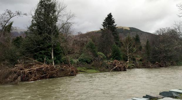 The River Greta in Keswick was described as a tsunami after trees were brought down