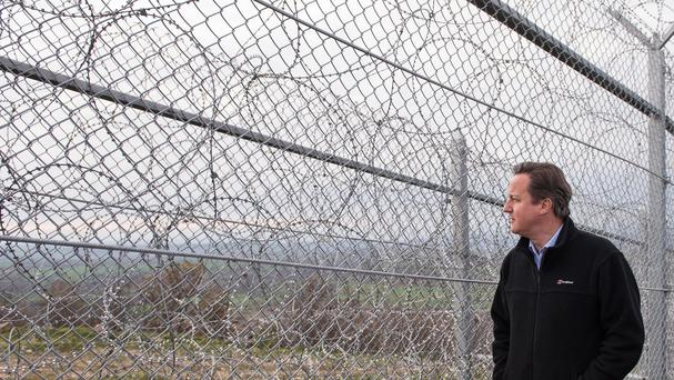 Prime Minister David Cameron visits Bulgaria's border with Turkey.