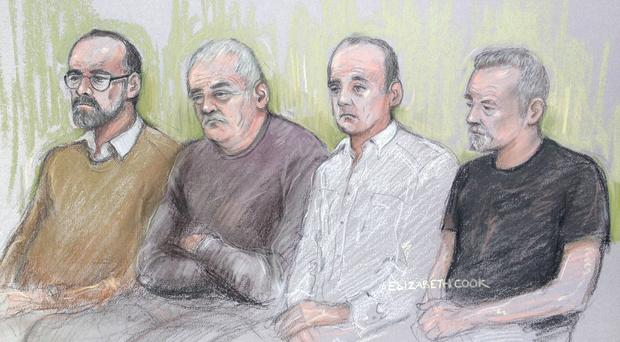 Court artist sketch of (left to right) Carl Wood, William Lincoln, Jon Harbinson and Hugh Doyle at Woolwich Crown Court (Elizabeth Cook/PA)
