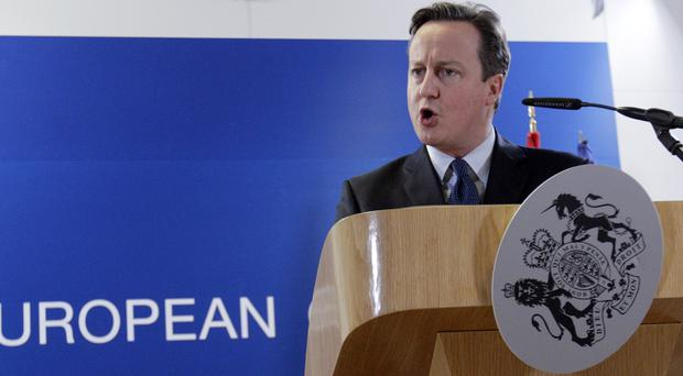 Prime Minister David Cameron speaks to the press as the British crest takes a tumble (AP)