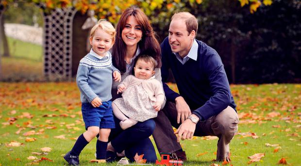 The picture of William, Kate, George and Charlotte taken at Kensington Palace which will be used on Christmas cards sent to the couple's family and friends