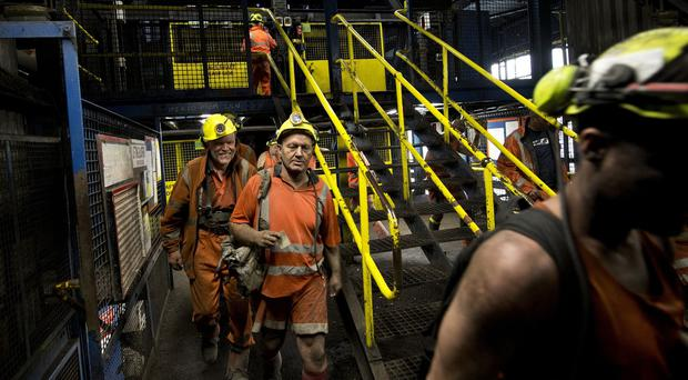 Miners come off the last shift at Kellingley Colliery