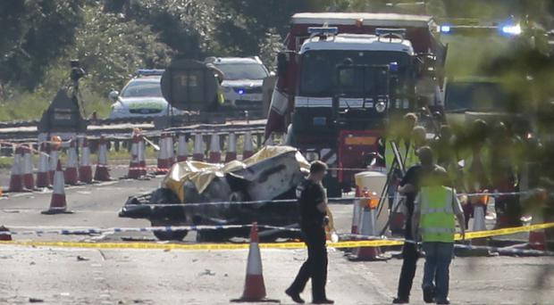 Eleven people were killed when the Hawker Hunter crashed on to the A27 in West Sussex on August 22