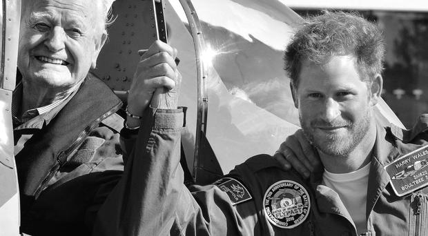 Prince Harry's treasured photo with Battle of Britain veteran Tom Neil