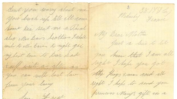 A letter written by Frederick James Davies, a private in the 2nd Battalion Royal Welsh Fusiliers during the First World War