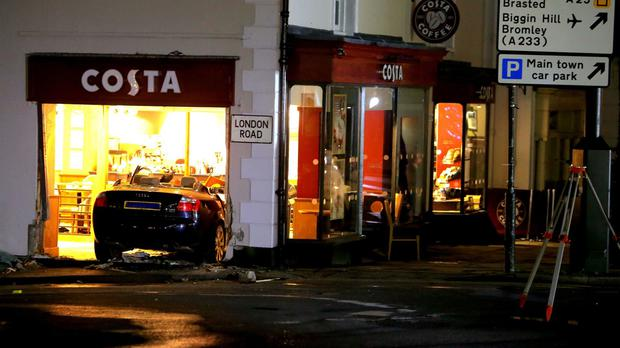 The scene in Westerham where a woman in her 70s died and five other people were injured after a car ploughed into a coffee shop