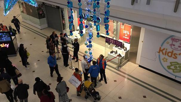 BEST QUALITY AVAILABLE Handout photo taken with permission from the Twitter feed of @keefmoon of police at the Intu shopping centre in Bromley, south London, where Boxing Day shoppers fled in panic after two men became embroiled in a fight believed to involve knives.