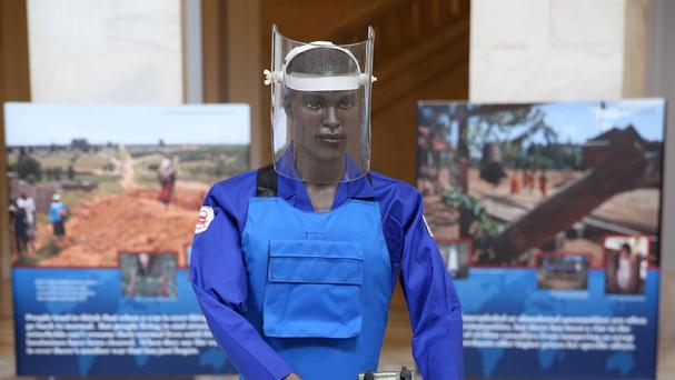 The HALO Trust included a mannequin as part of an anti-landmine photography exhibition mounted in the US