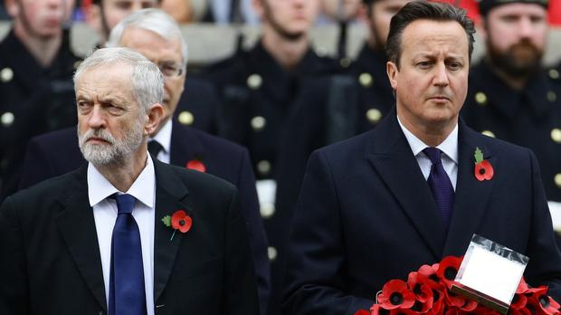 Labour party leader Jeremy Corbyn, left, and Prime Minister David Cameron at the Remembrance Sunday service at the Cenotaph in Whitehall