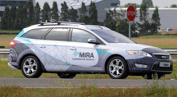 A driverless car is tested at the headquarters of motor industry research organisation MIRA at Nuneaton