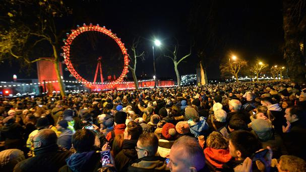 Revellers in central London during the New Year celebrations.