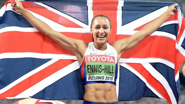 Jessica Ennis-Hill celebrates after winning gold in the women's heptathlon