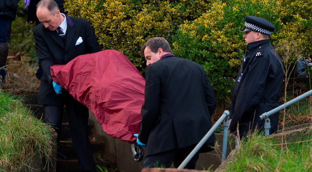 A body is removed from the home of Sian Blake after the former EastEnders actress