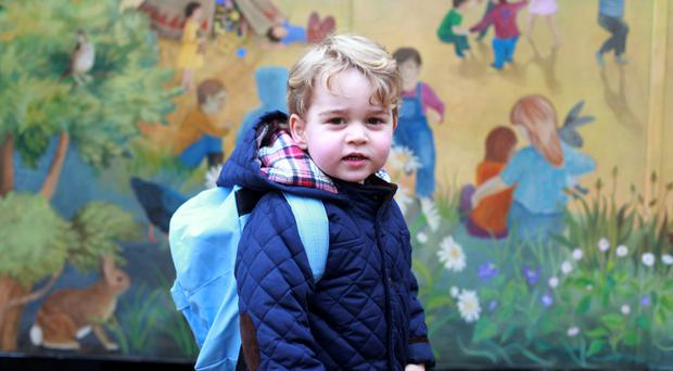 Prince George on his first day at the Westacre Montessori nursery school yesterday