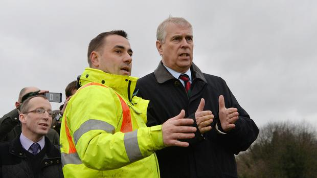 The Duke of York talks to Andrew Wood in Tadcaster