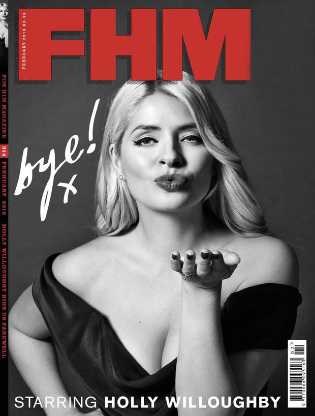 Goodbye kiss: Holly Willoughby on the front cover of the last issue of FHM magazine