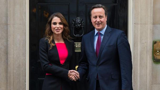 Prime Minister David Cameron meets Queen Rania of Jordan outside 10 Downing Street