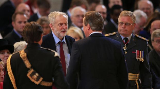David Cameron and Jeremy Corbyn exchange pleasantries at St Paul's Cathedral