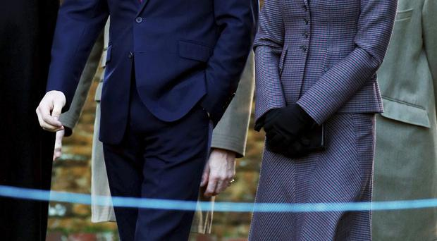 The Duke and Duchess of Cambridge arrive for the Sandringham wreath laying ceremony