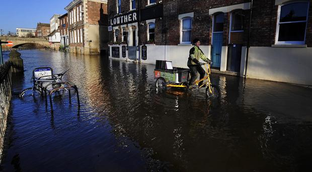 Many properties were damaged when the River Ouse flooded in York