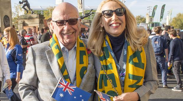 Rupert Murdoch and Jerry Hall, pictured arriving at the Rugby World Cup final at Twickenham, have announced they are to marry (The Sun/PA)