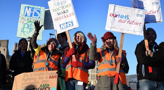 Junior doctors on the picket line outside Basingstoke and North Hampshire Hospital