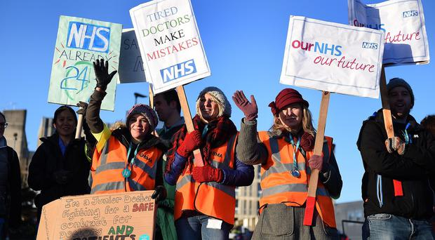 Junior doctors on the picket line outside Basingstoke and North Hampshire Hospital during Tuesday's strike