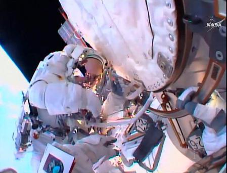 Astronaut Tim Peake on his first spacewalk at the International Space Station