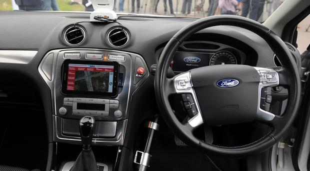 The interior of a driverless car at the headquarters of motor industry research organisation Mira in Nuneaton