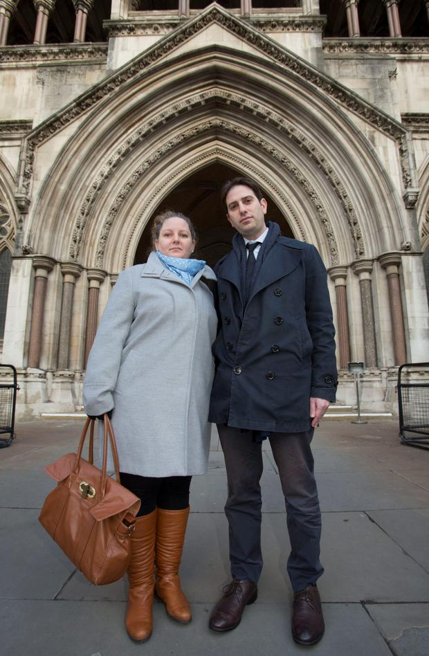 Rebecca Steinfeld and Charles Keidan outside the Royal Courts of Justice in London yesterday