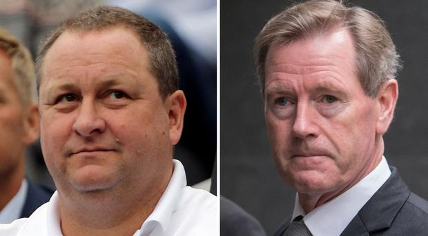 Sports Direct owner Mike Ashley, left, and Rangers FC chairman Dave King are embroiled in a legal battle