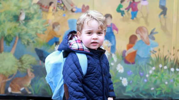 Prince George on his first day at his Montessori nursery school (Duchess of Cambridge)