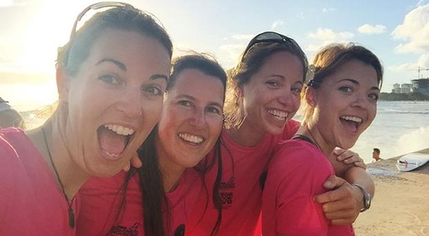 The Coxless Crew who rowed the second stage of their epic journey - Laura Penhaul, Natalia Cohen, Emma Mitchell and Lizanne van Vuuren (Carver PR/PA)