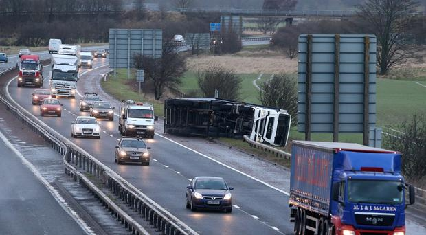 An overturned lorry on the M9 near Falkirk