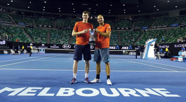 Jamie Murray (left) and Bruno Soares celebrating in Melbourne