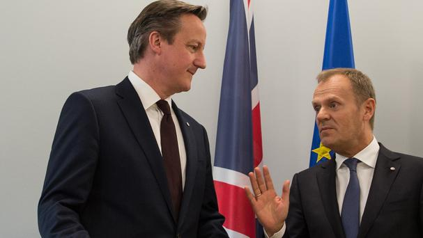 Prime Minister David Cameron, left, is holding talks on EU reforms with European Council president Donald Tusk