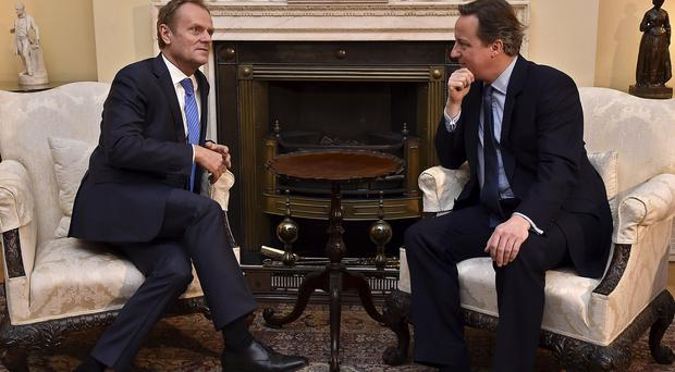 Prime Minister David Cameron, right, with European Council president Donald Tusk at 10 Downing Street