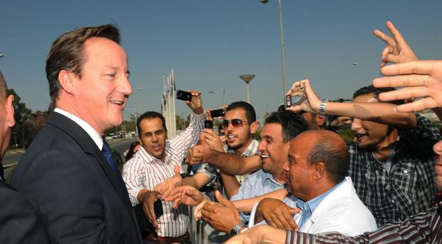 David Cameron pictured during a visit to Libya