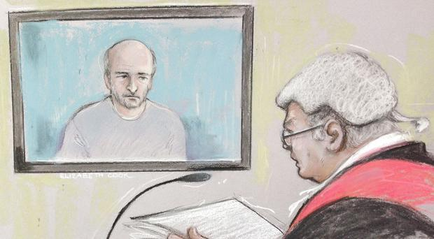 Court artist sketchof Edward Tenniswood appearing via videolink for a preliminary hearing at Northampton Crown Court, where he is charged for the murder of India Chipchase (Elizabeth Cook)