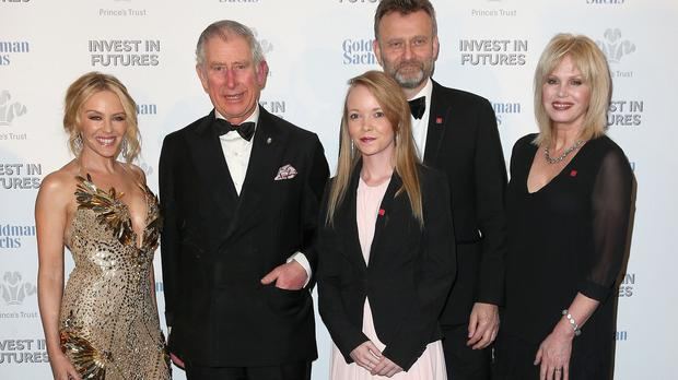 Kylie Minogue, the Prince of Wales, Prince's Trust Ambassador Laura Tombs Hugh Dennis and Joanna Lumley as they attend a pre-dinner reception at the Prince's Trust Invest in Futures Gala Dinner at The Old Billingsgate in London