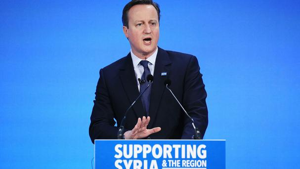 David Cameron pictured at the Supporting Syria And The Region conference