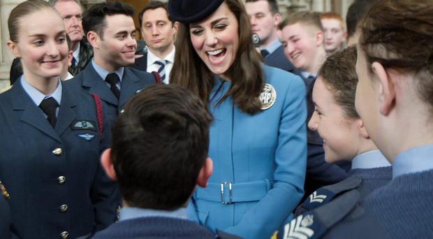 Kate with cadets to mark the anniversary