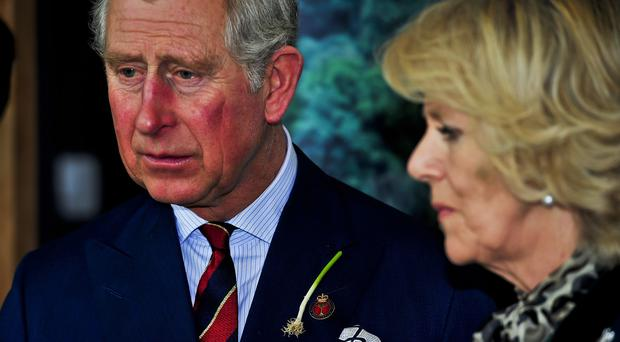 The Prince of Wales wore a real leek when he and the Duchess of Cornwall visited the Royal Welsh College of Music and Drama in 2013