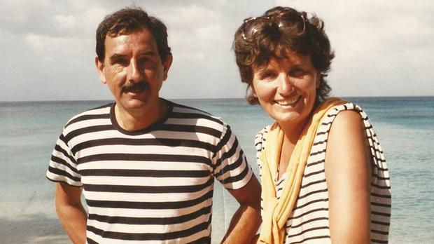Hunter Davies pictured in 1986 with his wife Margaret Forster who has died
