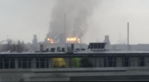 Photo taken with permission from Stuart Massey of a fire which has broken out at the Tata Steel plant in Port Talbot