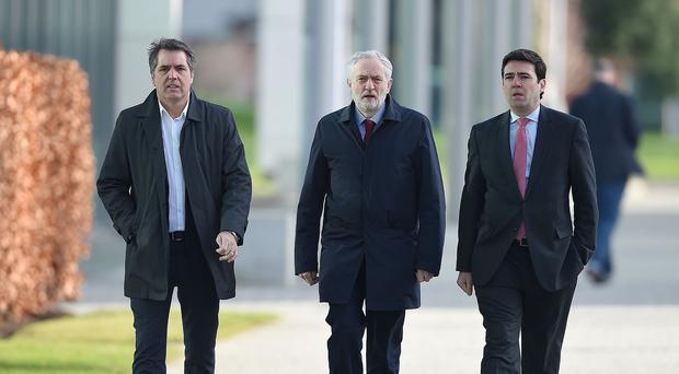 Liverpool MP Steve Rotherham, Labour leader Jeremy Corbyn and shadow home secretary Andy Burnham arrive at the Hillsborough inquest in Warrington
