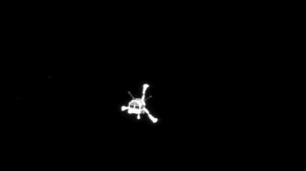 The Philae lander photographed from mother ship Rosetta as it made its way towards the comet