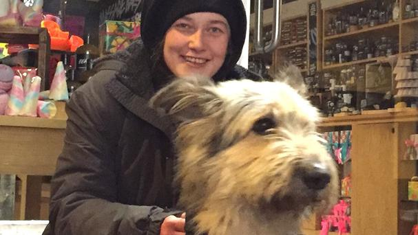 Lottie and her dog Marley outside Lush in Oxford (Lush Oxford/PA)
