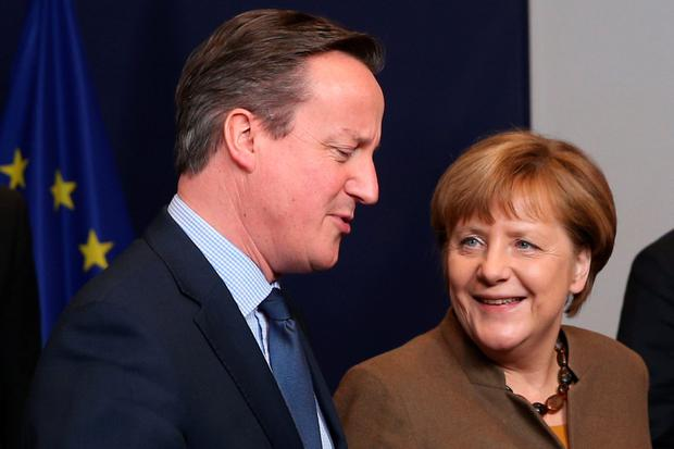 David Cameron with German Chancellor Angela Merkel