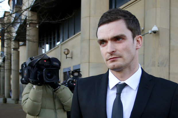 England footballer Adam Johnson outside Bradford Crown Court, where he has pleaded guilty to grooming and sexual activity with a 15-year-old girl but denies more serious sexual conduct